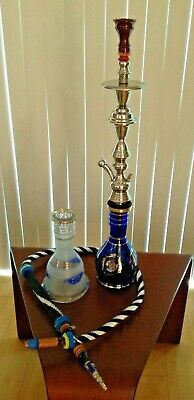 "Vintage 30"" Turkish Hookah Traditional Cobalt Blue 22KT Decorative Glass~ Rare"
