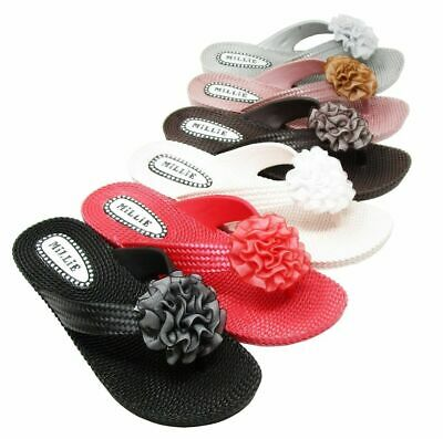 Womens Ladies Millie Flower Toe Post Sandals Shoes Flip Flops Beach UK Sizes