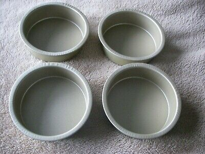 Individual Pie Dishes, Set of 4,Non Stick,GLIDEX TEFLON 4.5 INCH Dia x 1.5 deep