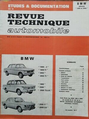 Bmw 1600 2002 1800 2000 + Tilux + C + 2000 Cs E10 E20 Revue Technique Rta 1971
