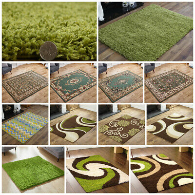 Modern Small Large Runner Shaggy Traditional Clearance Budget Lime Green Rug