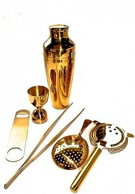 Kit Barman 6 Pieces Gold Colour Vintage Lumian Black01 Bartender