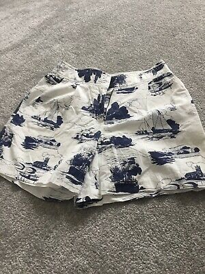Jack Wills White And Blue Patterned Lined Shorts Size 6