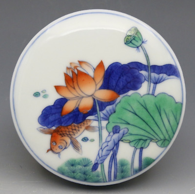 old China antique Blue and white Fighting colours Lotus fish pattern Inkpad box