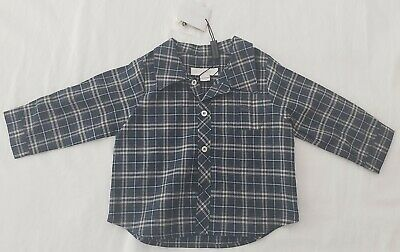NEW BURBERRY Plaid Shirt Boys Navy / button-up Size 6M NWT Kids Toddler