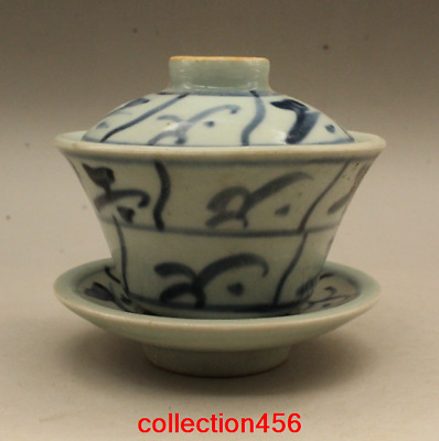 China antique Qing Dynasty Hand drawn Blue and white Tuba Cover bowl