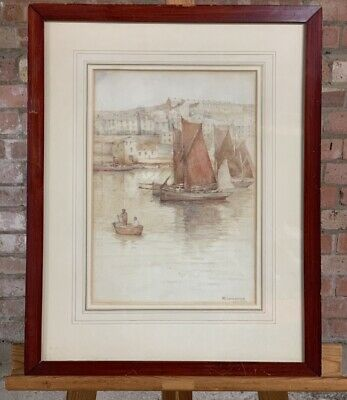 Lovely 19th Century Watercolour 'Cornish Harbour, By Wilton Lockwood