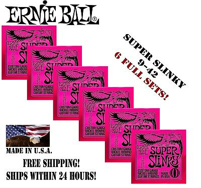 **6 SETS ERNIE BALL 2223 SUPER SLINKY ELECTRIC GUITAR STRINGS 9-42 (2x3 PACK)**