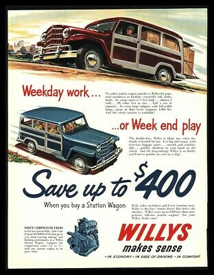 1951 WILLYS STATION Wagon PRINT AD - $14 99 | PicClick