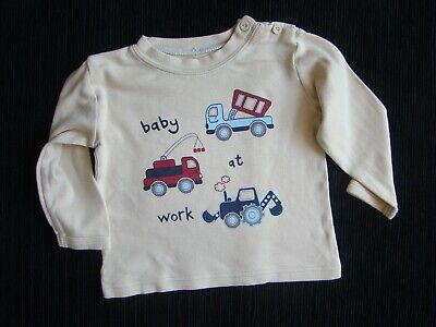 Baby clothes BOY 3-6m beige, trucks long sleeve t-shirt ex. condition! SEE SHOP!