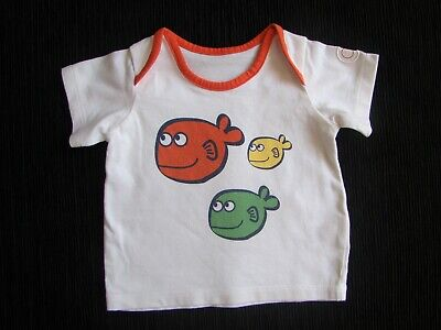 Baby clothes BOY 0-3m 3 fun fishes white/red t-shirt short sleeves SEE SHOP!