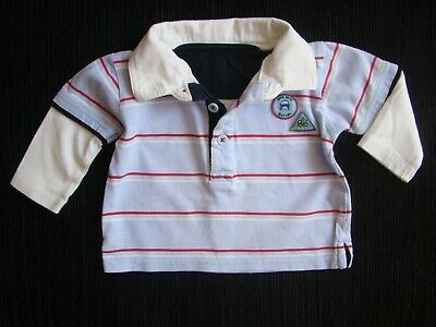 Baby clothes BOY 0-3m polo shirt, blue,red/white stripes long sleeves SEE SHOP!
