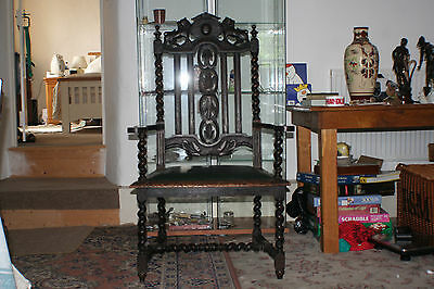Very old antique 1700's lion carved Pope or kings chair newly upholstered.