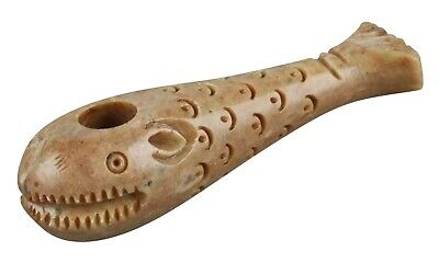 """Stone Carved Whale Hand Pipe - 4"""" / Assorted Colors"""