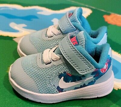 b2ce3e427ab Nike Revolution 3 Print Sneakers Baby Girls Size 2 EEUC Blue & Pink Flowers