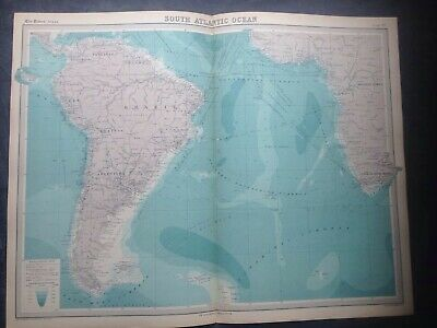1922 Map Of South Atlantic Ocean Brazil,Times Atlas,Bartholomew,Edinburgh,