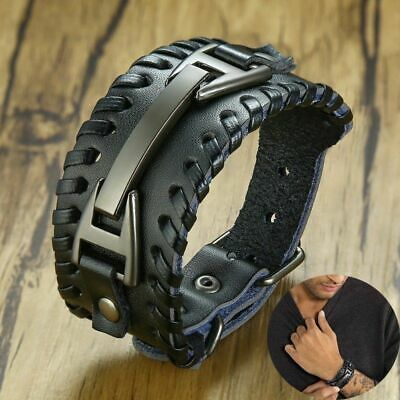 Men Stylish Wide Leather Bracelet Punk Braided Rope Alloy Cuff Bangle Wristband