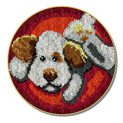"Latch Hook Rug Kit""Playful Dog"" 52cm Circular"
