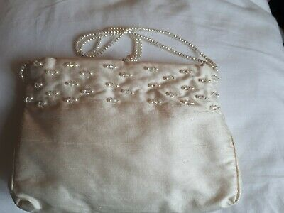 Ivory Faux Silk Bridal bag with Pearl and Crystal decoration. Hand made