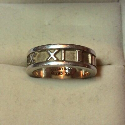 81a55b562 Authentic Tiffany And Co Atlas Numeral Ring 1995 Sterling Silver Roman Size  5.5