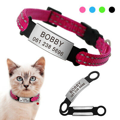 Reflective Quick Release Cat Collar With Personalised Slide On Pet Name ID Tags