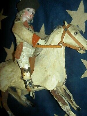 RARE antique Elie Martin, George Washington bisque doll on horse, mechanical toy