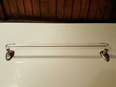 "Vintage 18"" Clear Bent Glass Towel Bar Wall Mount Chrome Metal Brackets Art Deco"