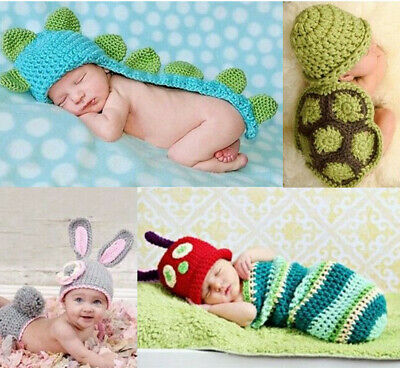 Newborn Baby Girl Boy Crochet Knit Costume Photo Photography Prop Hats Outfits D