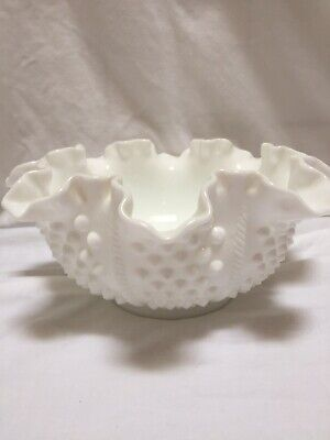 Vintage Fenton White Milk Glass Hobnail Double Crimped Decorative Bowl