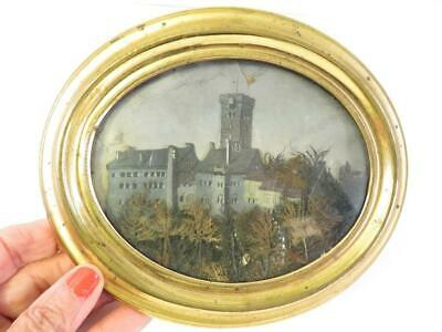 Antique 19Th Century French ? Castle Painted Diorama In Oval Gilt Frame