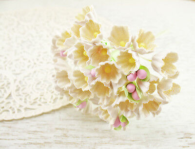 Vtg Style White Yellow Forget Me Nots Paper Flowers Bunch Mini Easter Craft