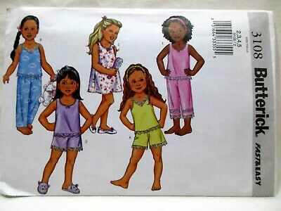 Butterick Sewing Pattern 3108 Sizes 2 - 5 Childrens Top Gown Shorts Pants Uncut