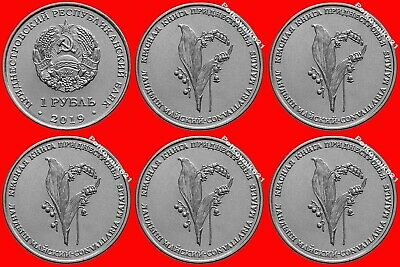 Transnistria / Moldova 5 Pcs х 1 ruble 2019 Red Book.May lily of the valley New!