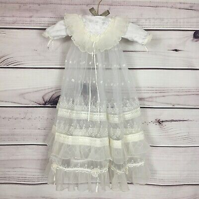 Newborn Christening Sheer White Ivory Baby Dress Gown