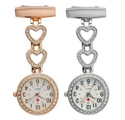 Ladies Heart Steel Nurse Doctor Tunic Brooch Quartz FOB Pocket Medical Watch