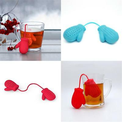 Silicone Cute Claus Gloves Loose Herbal Spice Infuser Filter Tea Leaf Strainer
