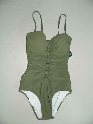 a445f52962 Profile by Gottex Women Lace Up Bandeau Shirred One Piece Swimsuit NWT Size  8 A1