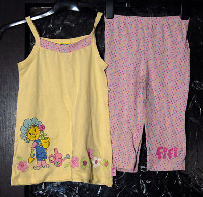 New without Tags Girls Fifi Two Piece Set, Pink Leggings and Yellow Top - 4-5yrs