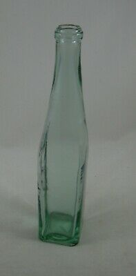 "Green Recycled Glass 11"" Tall Long Neck Bottle made Spain Vase Jar Square"
