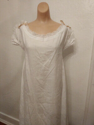 Antique Victorian White Cotton Nightgown Pink Silk Ribbon Trim