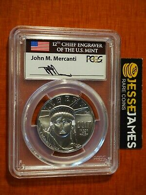 2017 $100 Platinum Eagle Pcgs Ms70 Flag Mercanti First Day Of Issue Fdi 20Th Ann