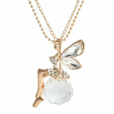 Gorgeous Women Crystal Gold Fairy Angel Wing Pendant Long Chain Necklace Jewelry
