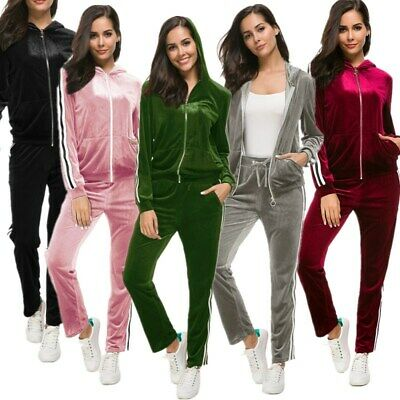 Women's Velvet Tracksuit Casual Sweatshirt Hoodies 2pcs Set Top+Pants Jumpsuit