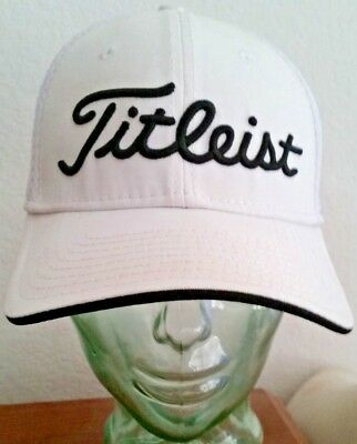 Titleist New Era Fitted White Cap, Size M/L, Pro V1, FJ Foot Joy, Mesh Back