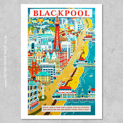 BLACKPOOL SUMMER A3 vintage retro travel /& railways posters art printr #3