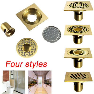 Antique Brass Waste Floor Mouned Drain Shower Square Bathroom Cover 10*10cm