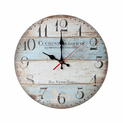 Large Vintage Wooden Wall Clock Shabby Chic Rustic Kitchen Home Antique Style us