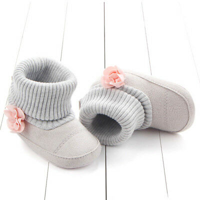 Infant Baby Girls Cotton Knit Soft Winter Warmer Snow Boots Flowers Baby Shoes
