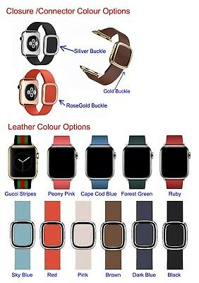 Genuine Leather Modern Buckle Apple Watch Band For iWatch Series 4 38/40/42/44MM