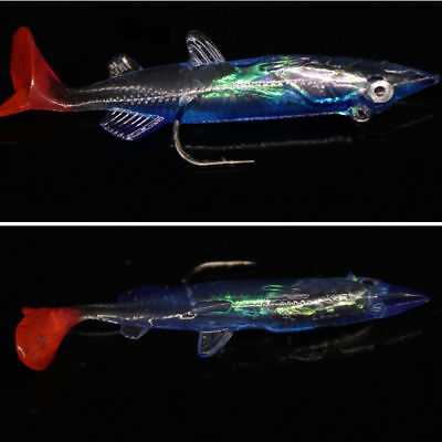 3D Minnow Night Plastic Fishing Lure Crank Bait Hooks Bass Crankbait Tackle 1Pc